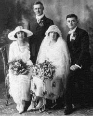 Wedding Picture Josephine Gilson and Peter Steffen on left Alice Gilson and Lawrence Steffen on right
